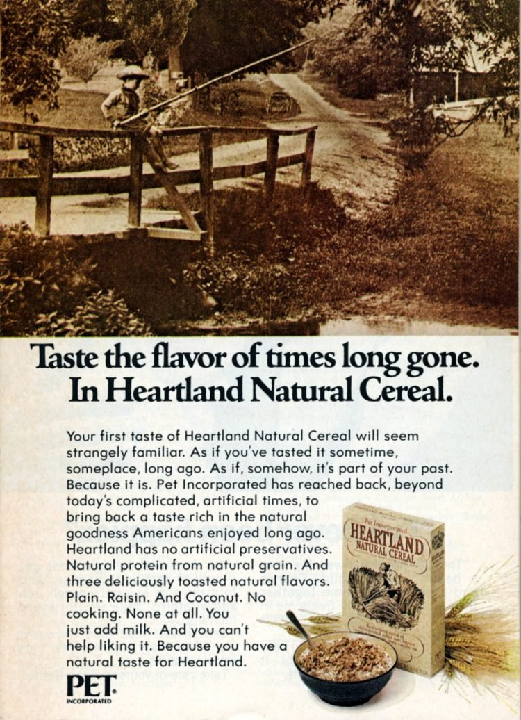 Flavor of times long gone Heartland Natural Cereal (1973)