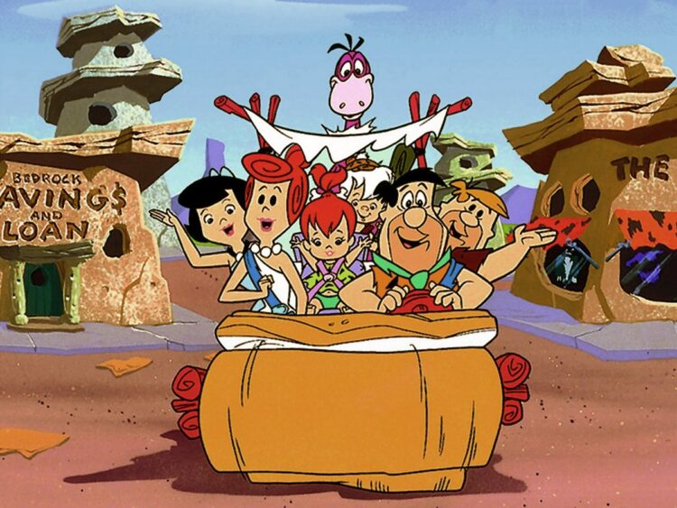 Flintstones family in the car