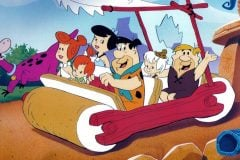 Flintstones in their car