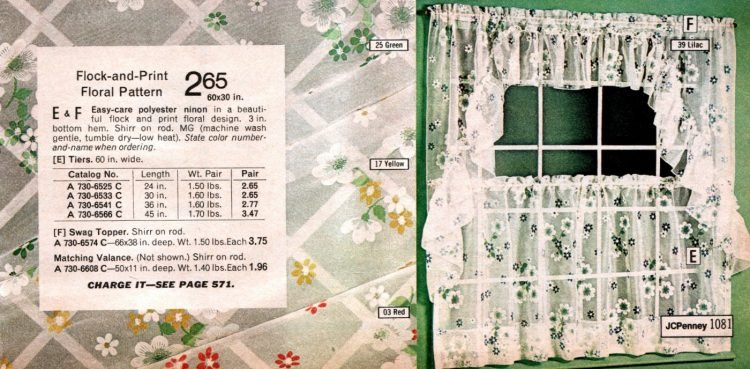 Flock and print vintage floral pattern shorty curtains with swag topper