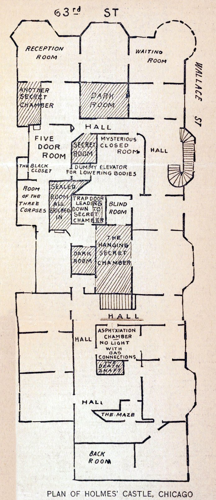 Floor plan of H H Holmes Murder Castle in Chicago from 1896