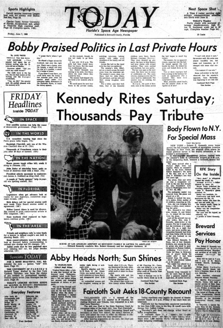 Florida_Today Senator Robert Kennedy dead - newspaper - June 7 1968