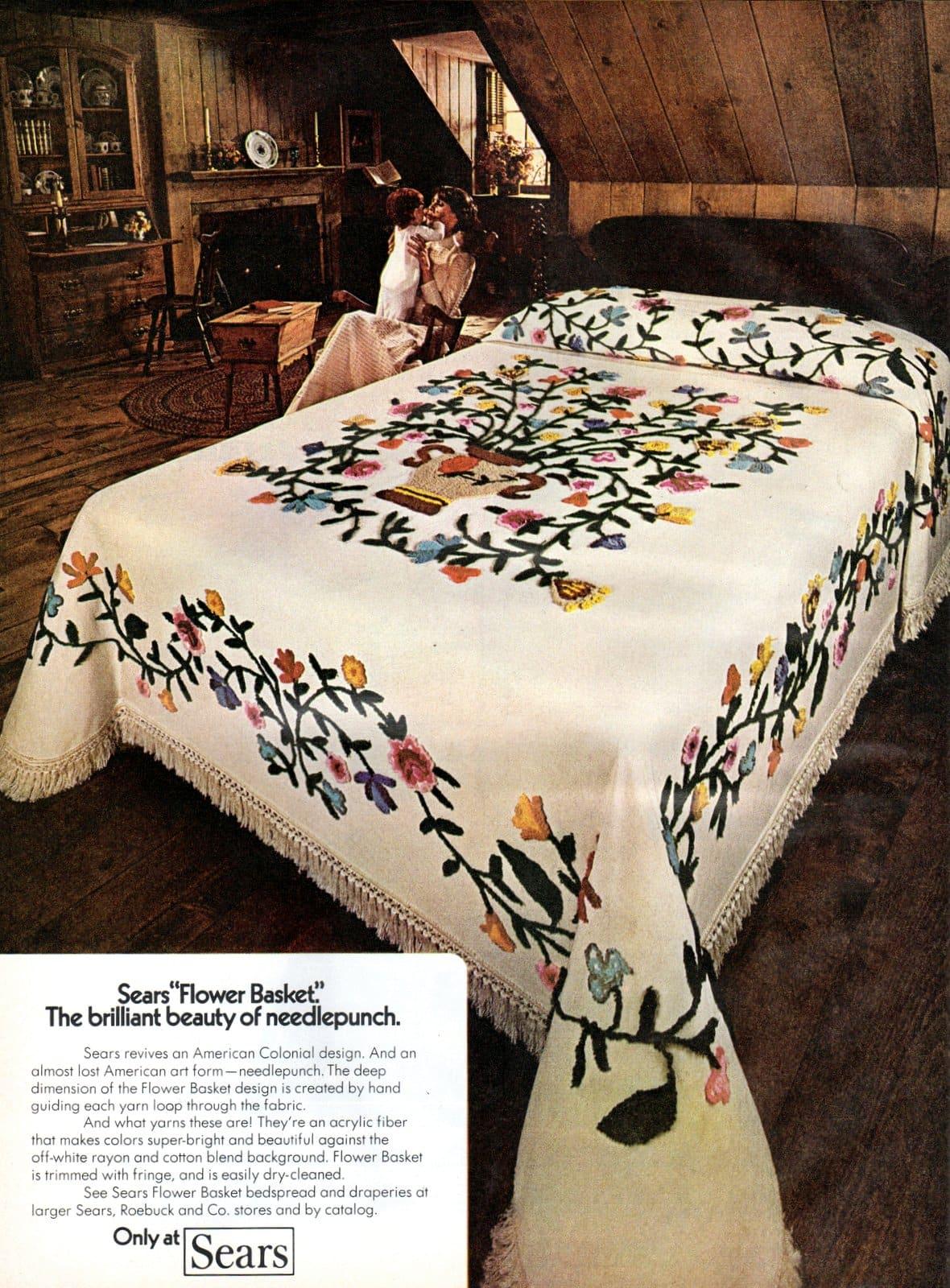 Flower Basket needlepunch bedspread (1972)