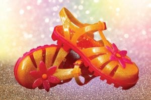 Flowery vintage jelly sandals