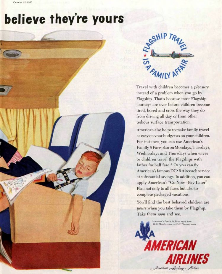 Fly American Airlines with kids - Ad from 1955 (1)