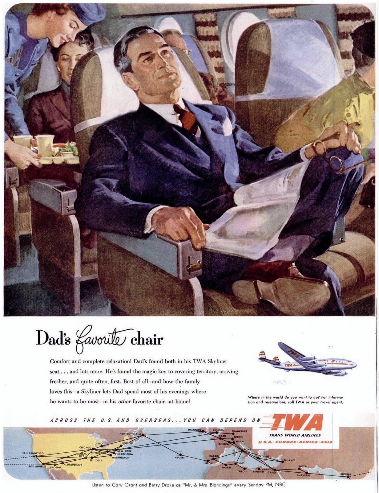 Flying TWA airplane - Dad's favorite chair (1951)