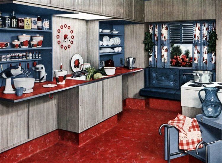 Fold-down kitchen countertops from 1951