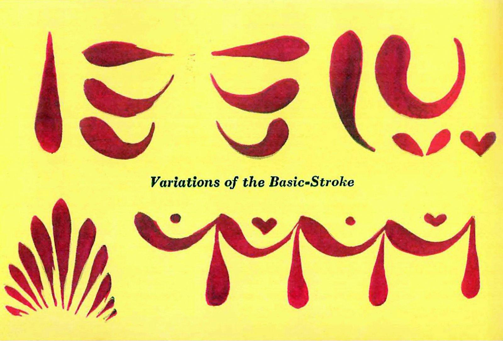 Folk-art painting tips - Variations of the basic-stroke