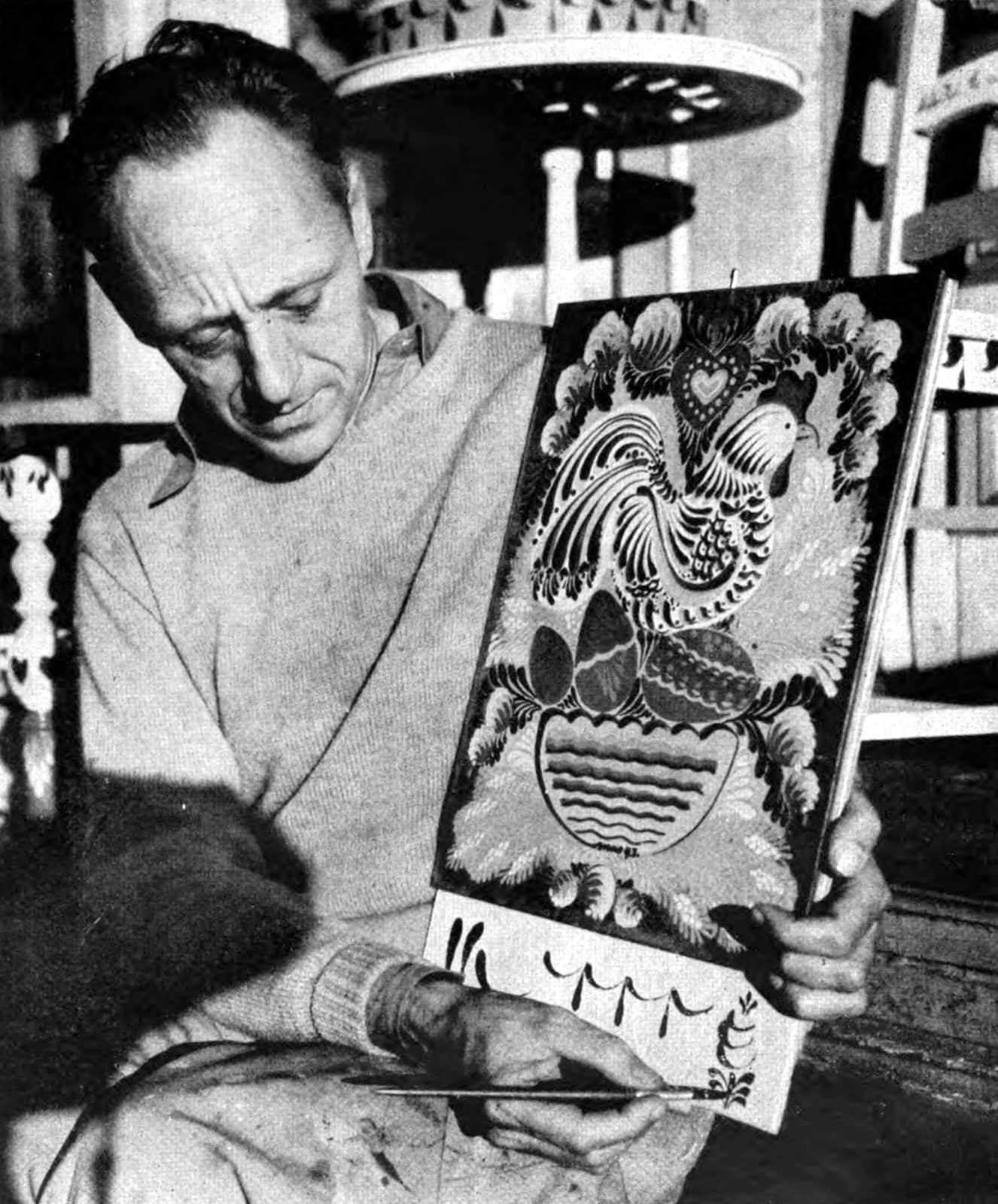 Folk artist Peter Hunt demonstrating brush stroked (1940s)