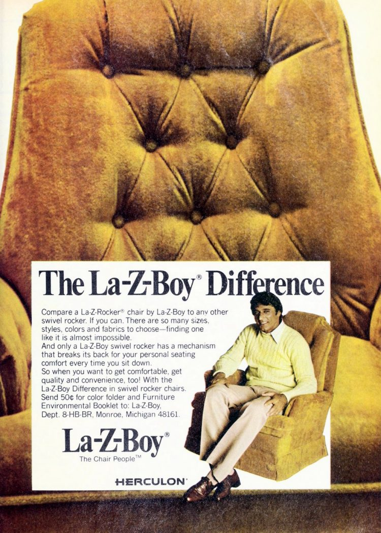 Football legend Joe Namath for La-Z-Boy's recliner chairs 1970s
