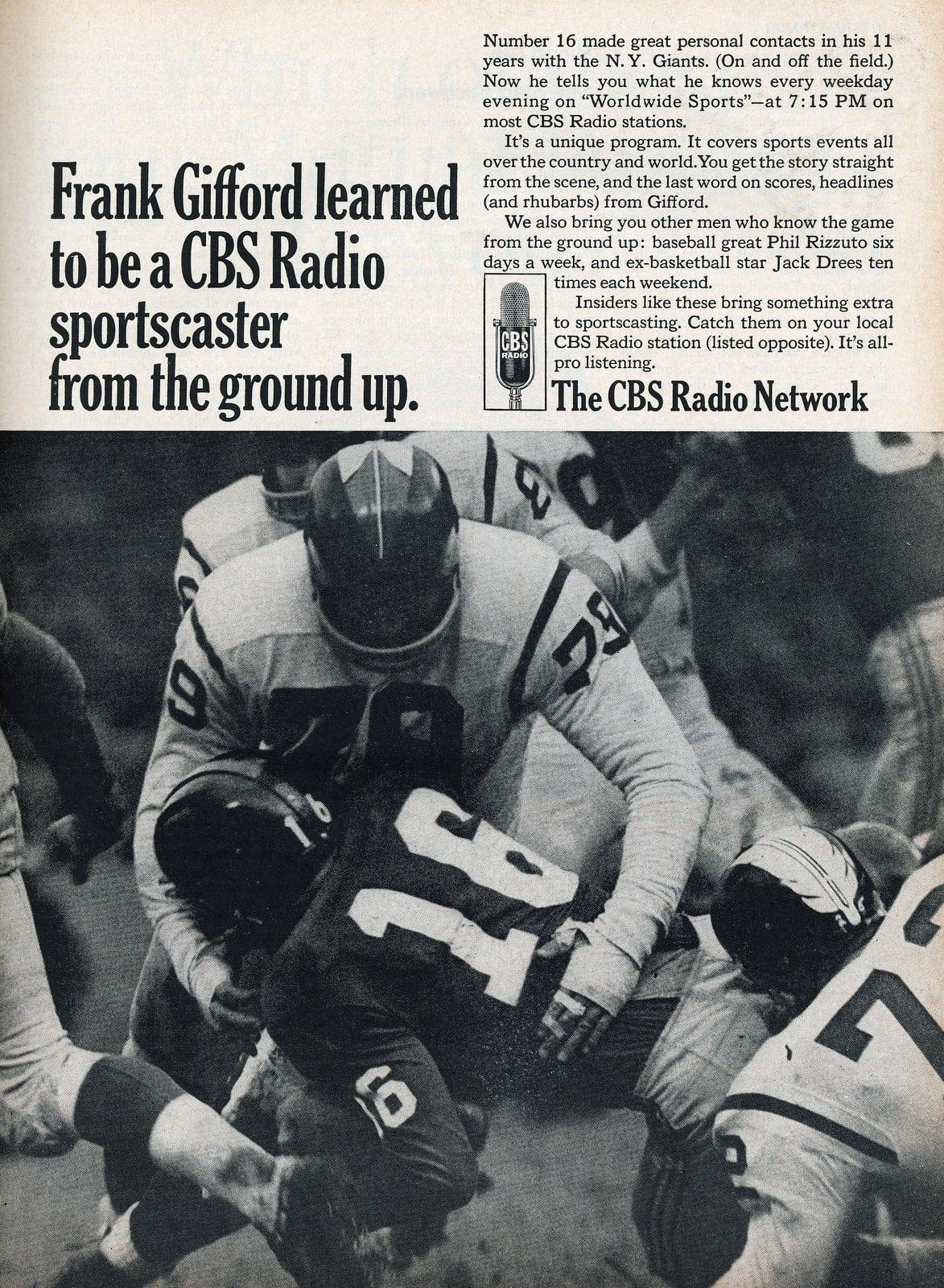 Football player Frank Gifford on CBS Radio (1966)