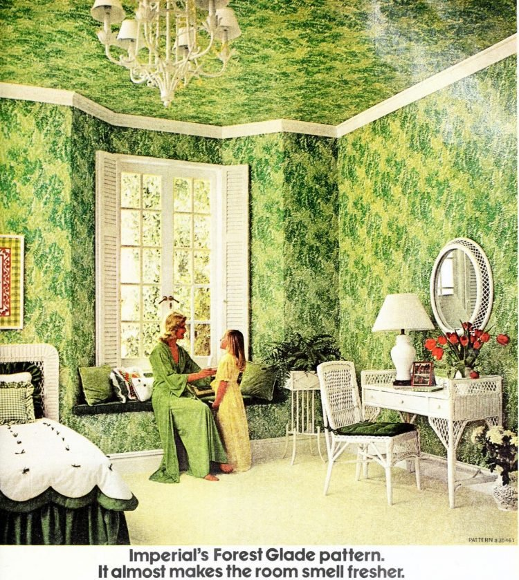 Forest glade pattern wallpaper on a celing and walls 1977