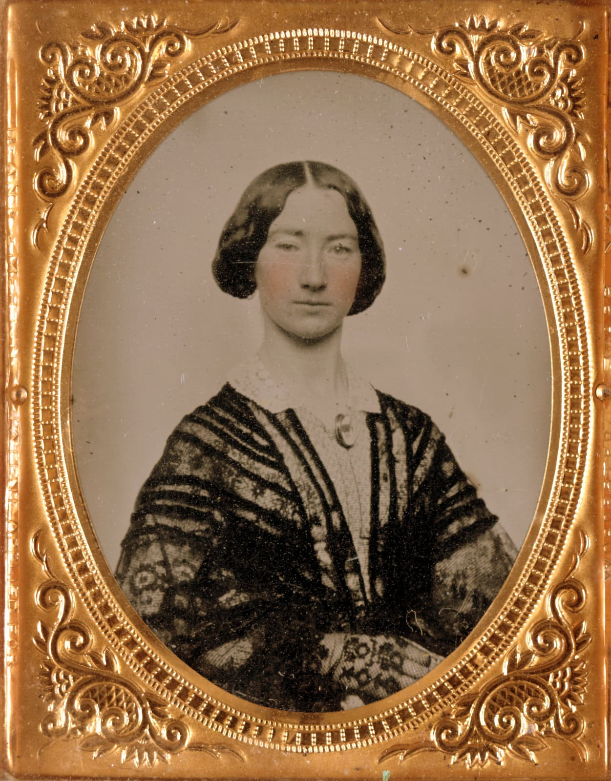 Formal antique portrait of an unidentified woman during the Civil War era (1860s)