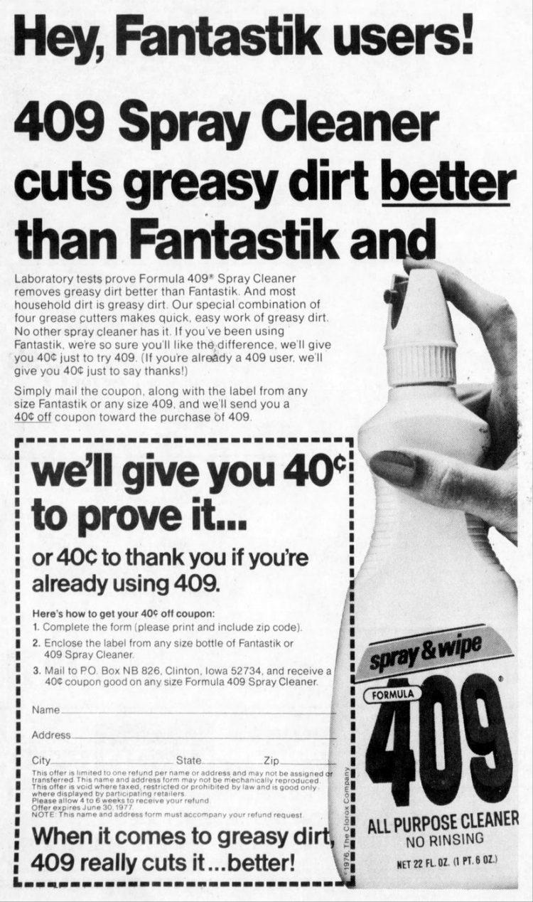Formula 409 cleaner 1976