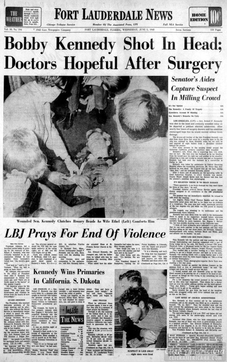 Fort_Lauderdale_News - Bobby Kennedy shot in head - June 5 1968
