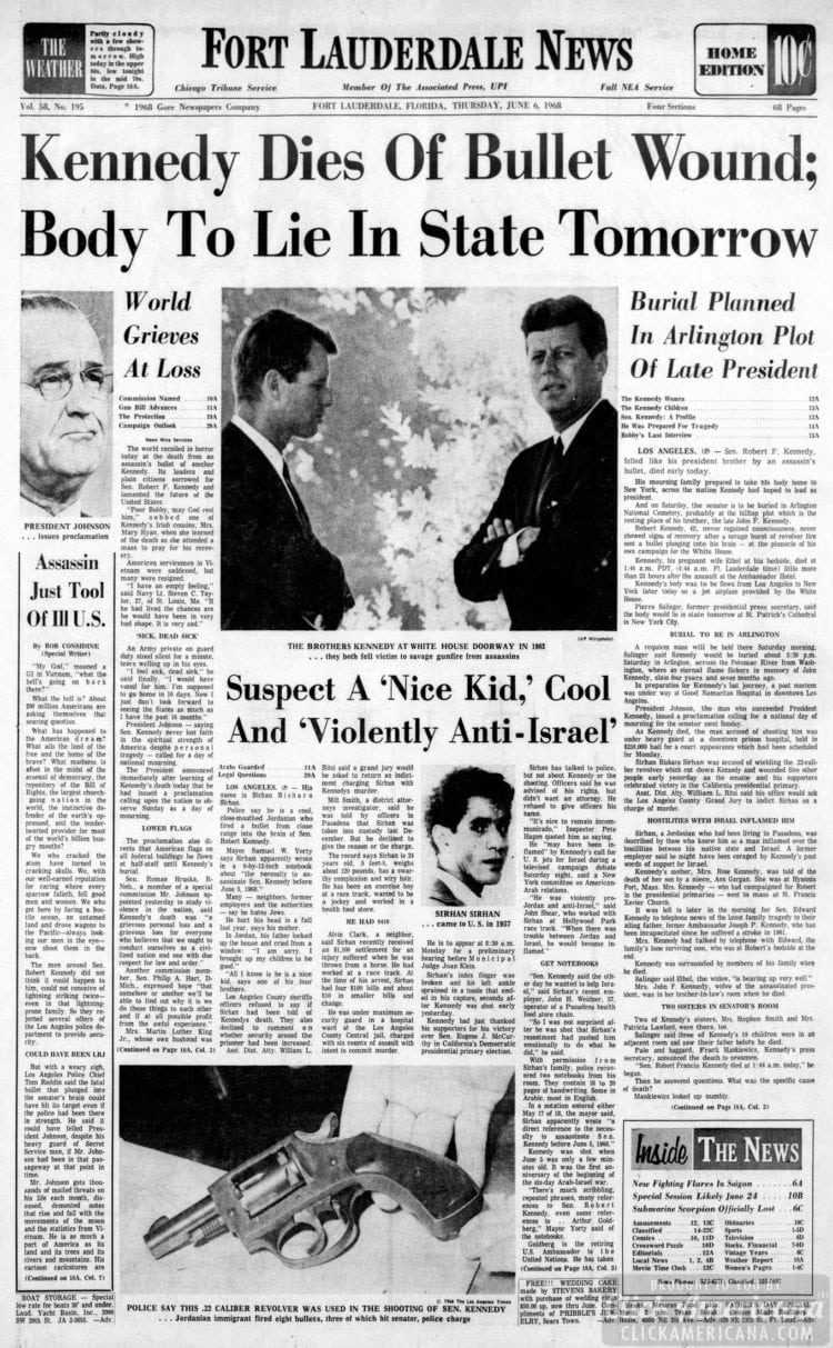 Fort_Lauderdale_News Robert Kennedy dies of bullet wound - June 6 1968
