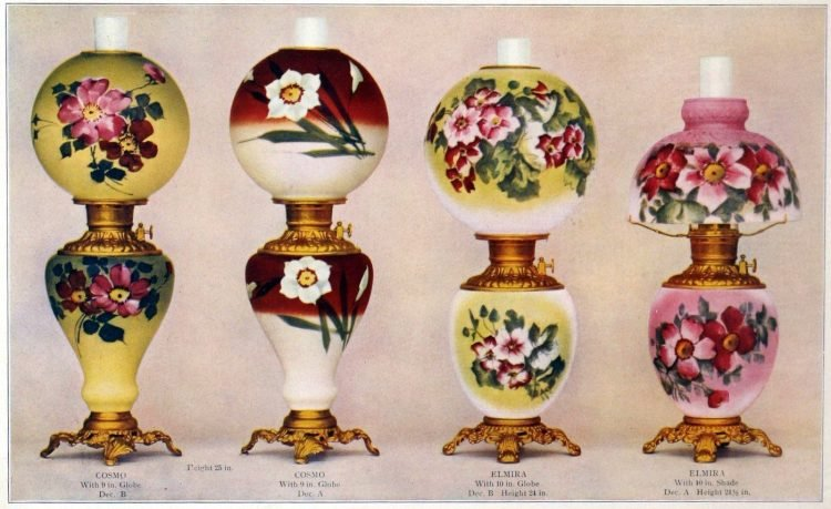 Fostoria decorated lamps from 1904