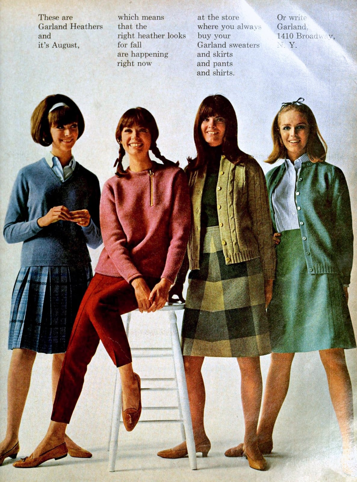Four cute retro sweater outfits for women (1965)