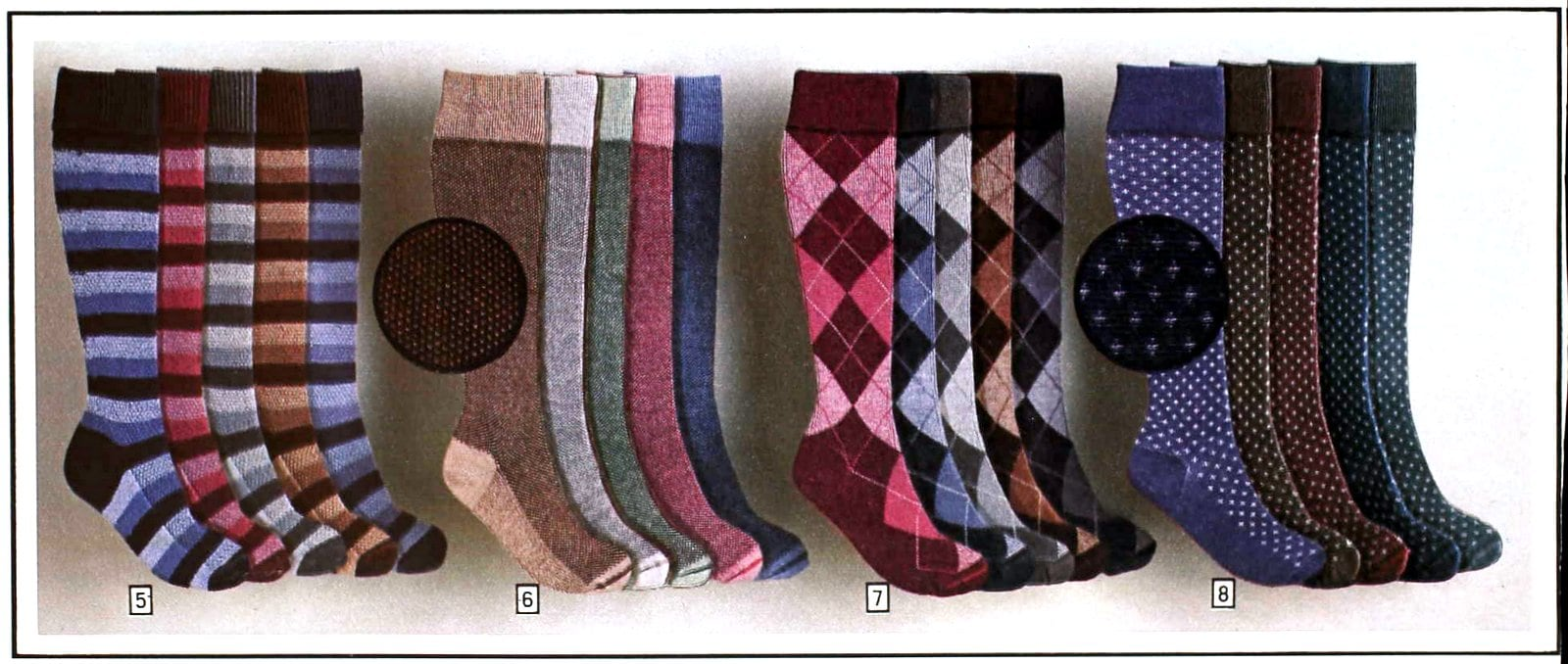 Four styles of knee-high 1980s socks, each in 5 different colorways