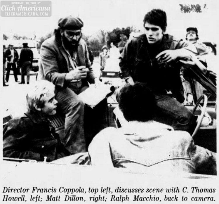 Francis Ford Coppola filming The Outsiders movie