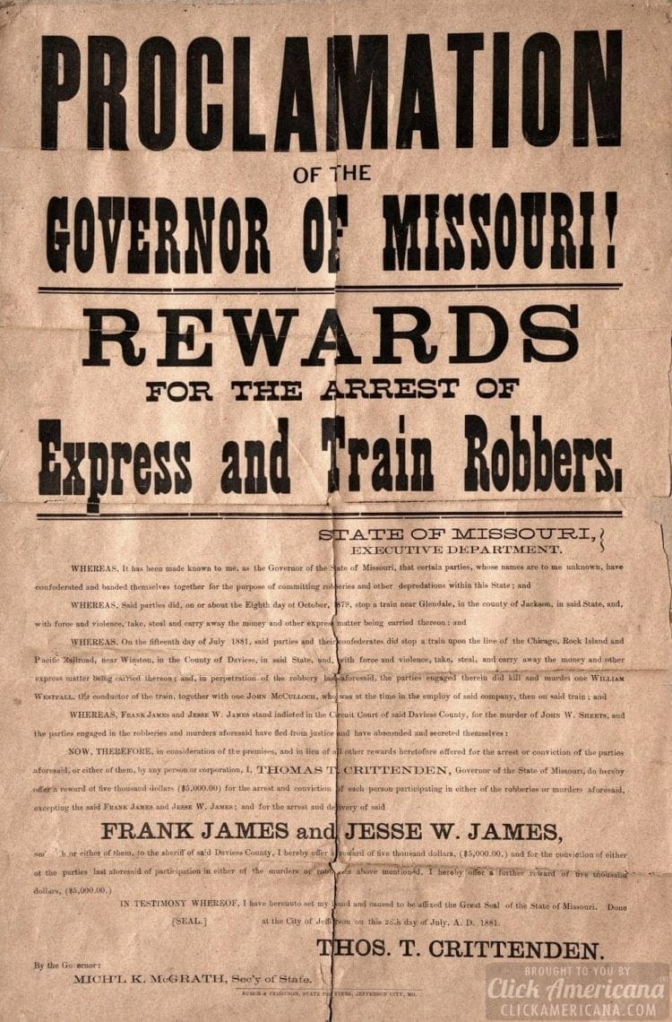 Frank James and Jesse James wanted poster 1881