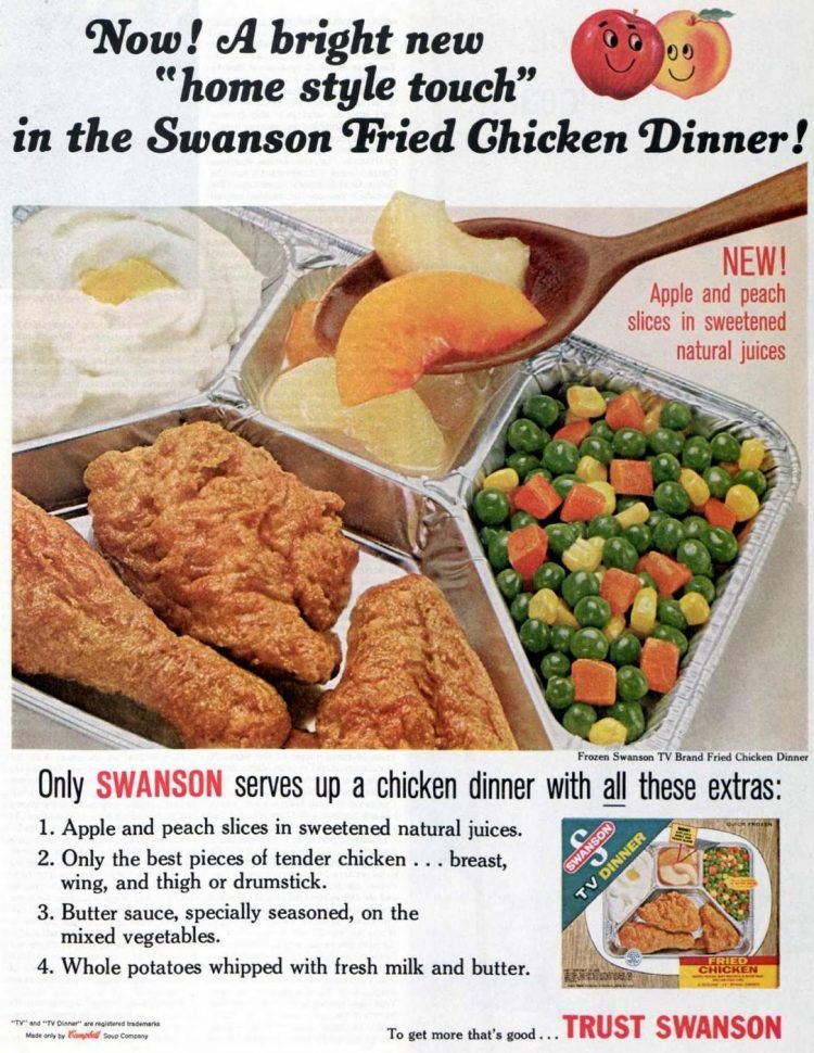 Fried chicken TV dinner with apple and peach slices from 1965