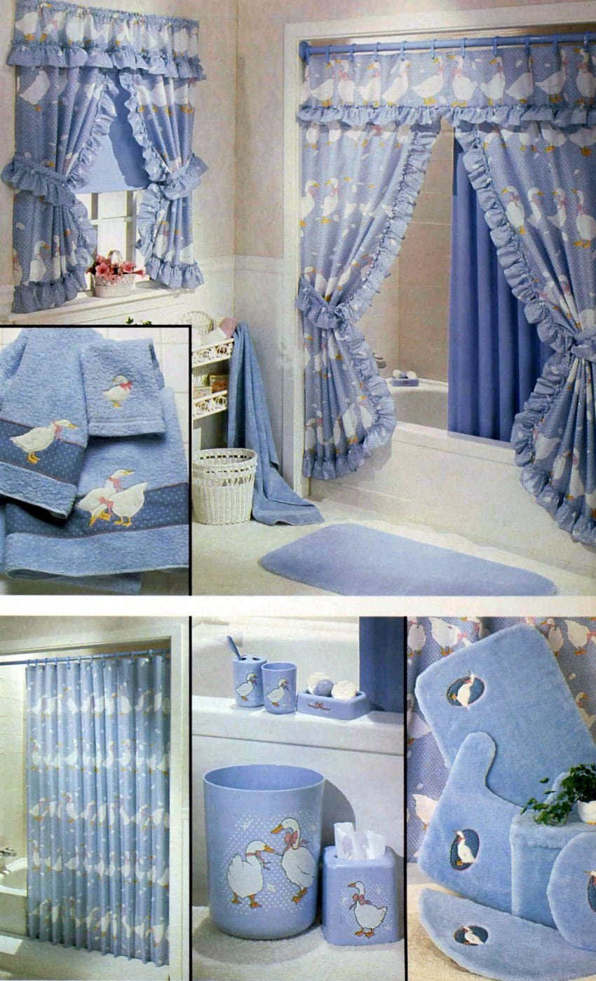 Frilly vintage 1980s blue bathroom decor and accessories