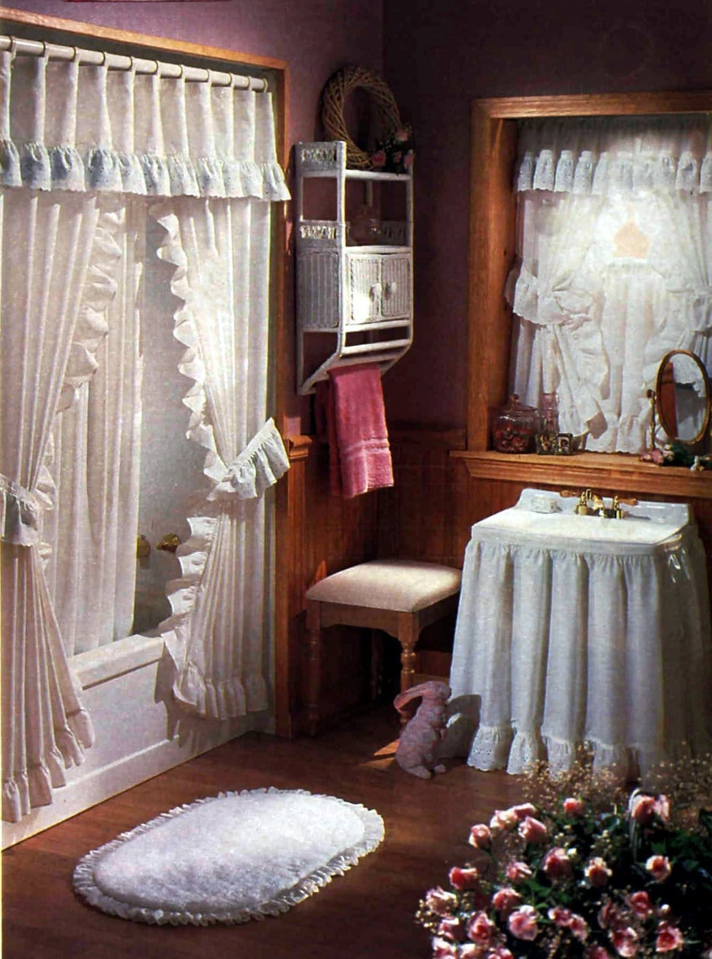 Frilly white vintage bathroom decor from the eighties