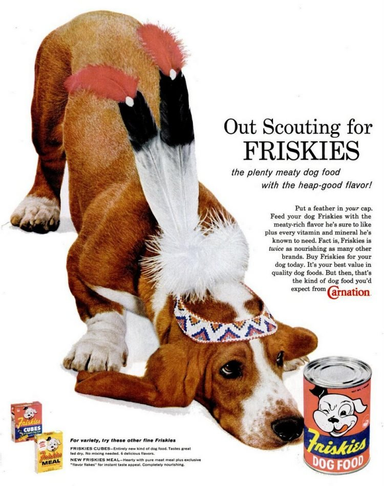 Friskies dog food ad from 1960 - Dog in costume