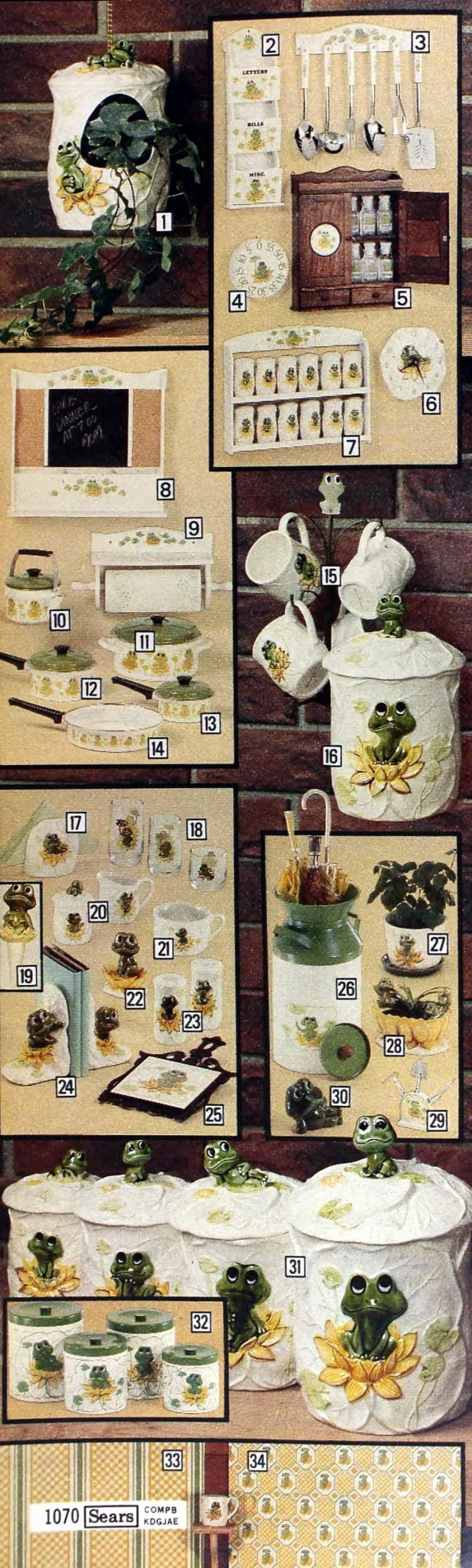 Frog Family vintage kitchen coordinates