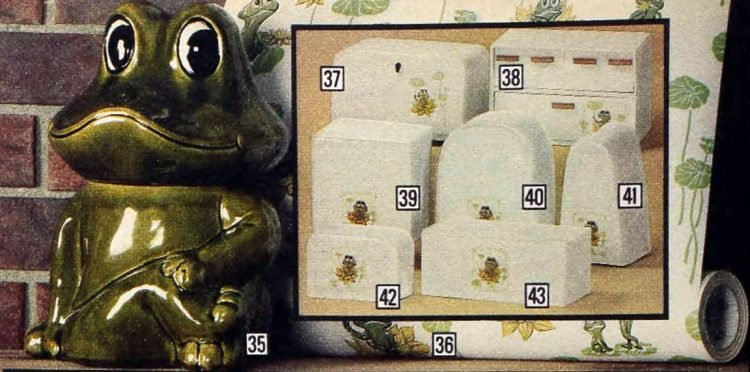 Frog Family vintage kitchen coordinates, cookware and wall coverings from 1979 (1)