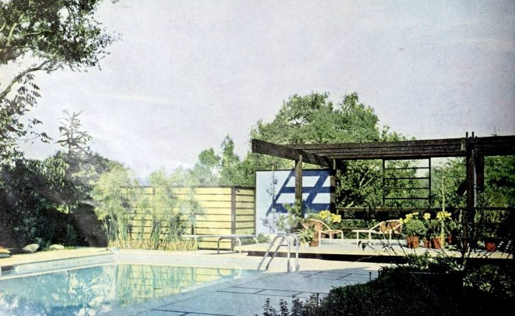 From 1960 - Simple swimming pool with Japanese-inspired patio deck