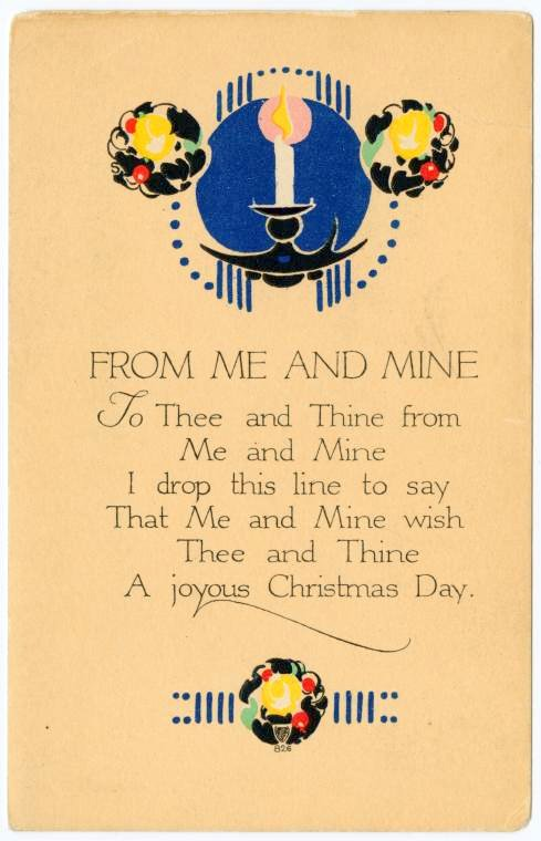 From me and mine Christmas card with verse from 1917