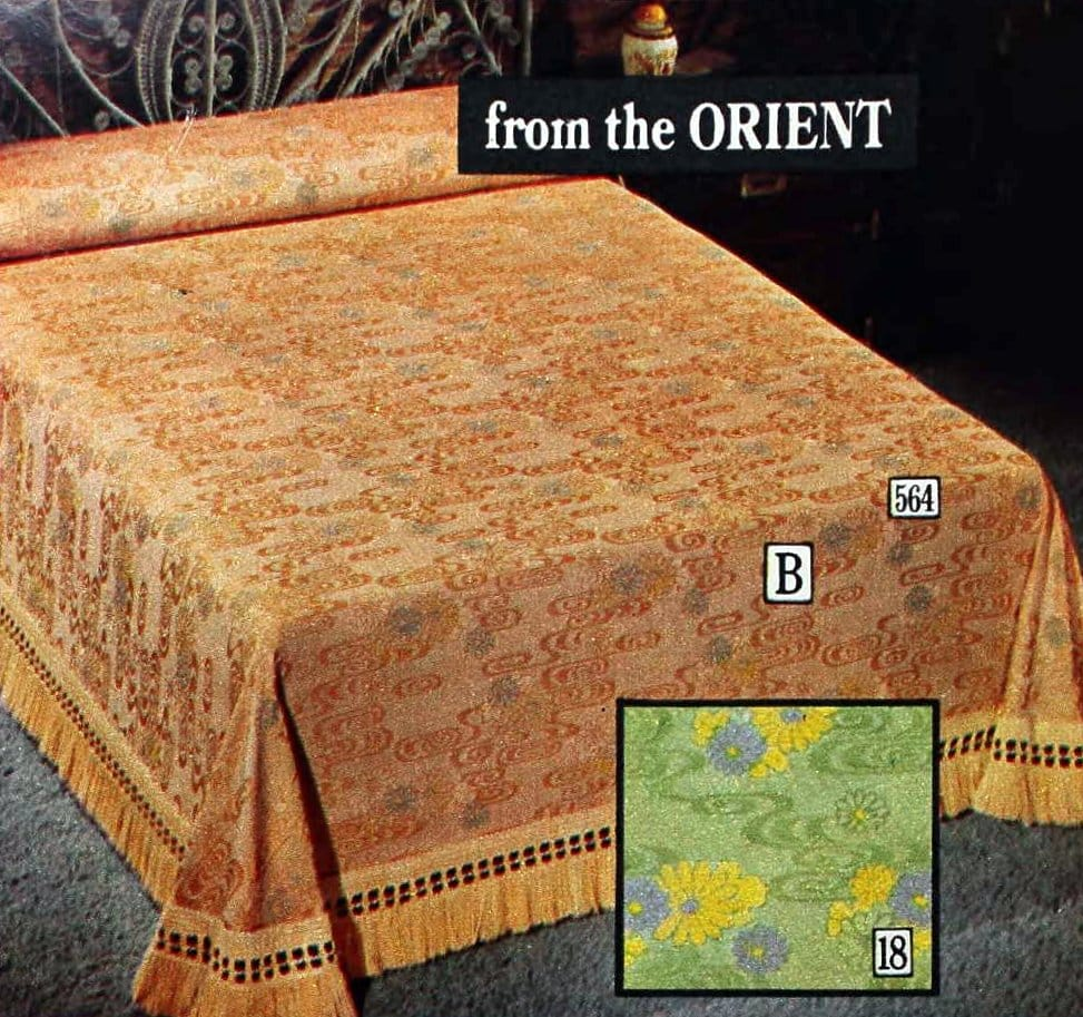 From the Orient Raised-weave matelasse soft floral pattern spread (1970s)