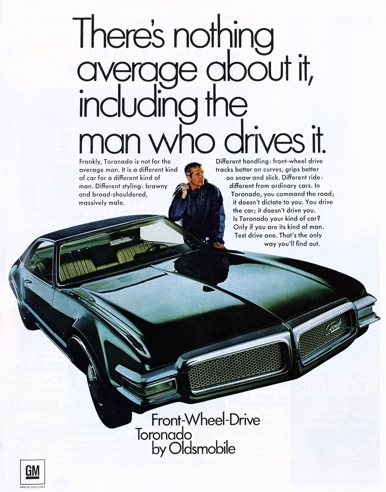 Front-wheel drive Toronado by Oldsmobile - 1967 ad for 1968 model