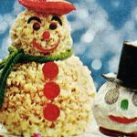 Frosty the Snowman themed vintage Christmas desserts (1960s)