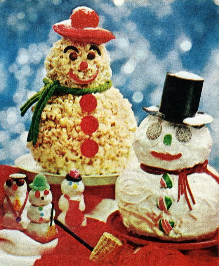 Frosty the Snowman themed vintage Christmas desserts (1969)
