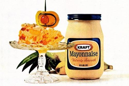 Frozen Caribbean salad Bananas, pineapple, rum, cream, lime and mayo (1972)