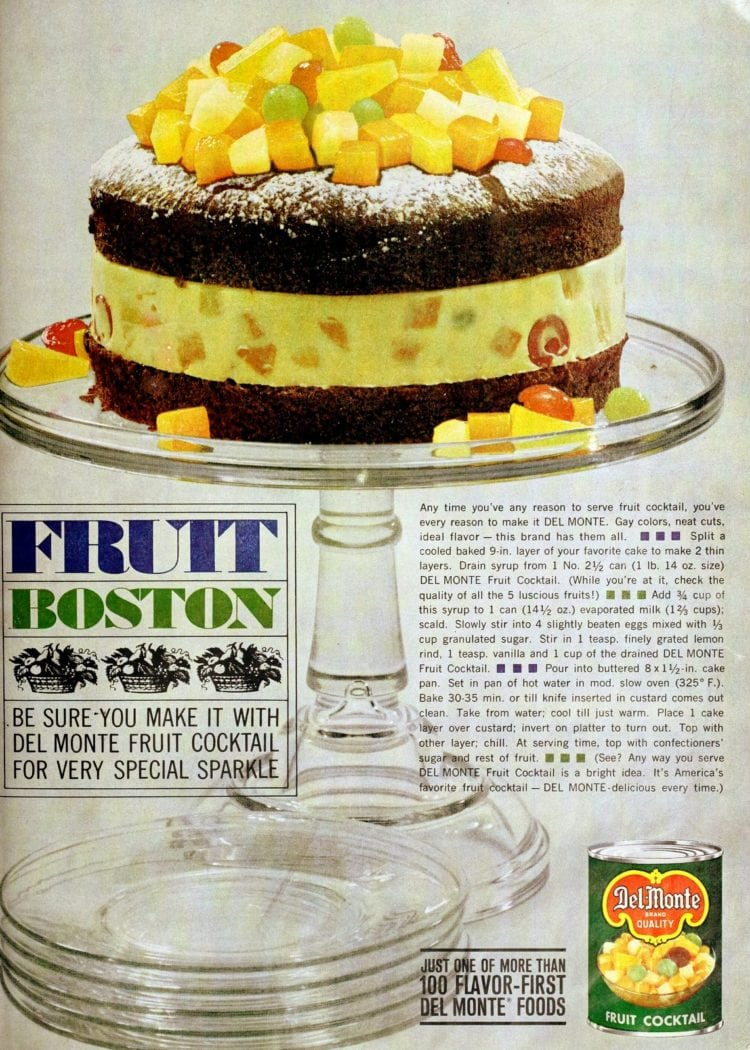 Fruit Boston fruit cocktail retro dessert recipe from 1960