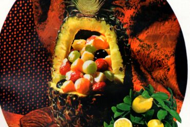 Fruits Royal Hawaiian A carved pineapple with fruit salad inside retro recipe