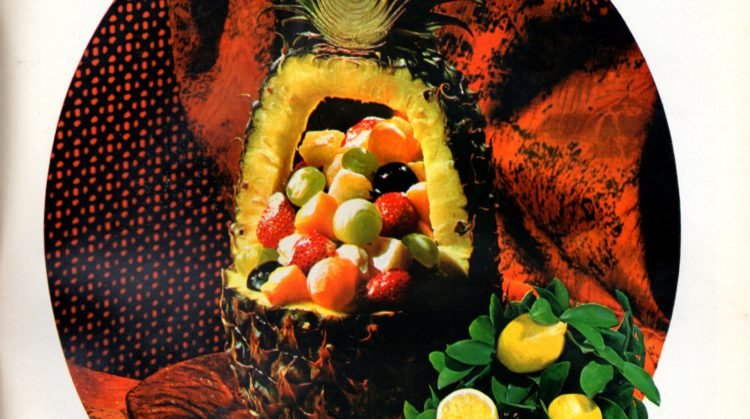 carved pineapple with fruit salad - vintage recipe idea