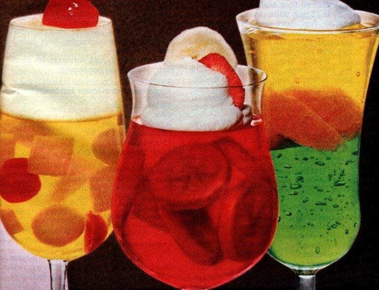 Fruity heaven, Berry banana and Fruit float Jello desserts (1985)