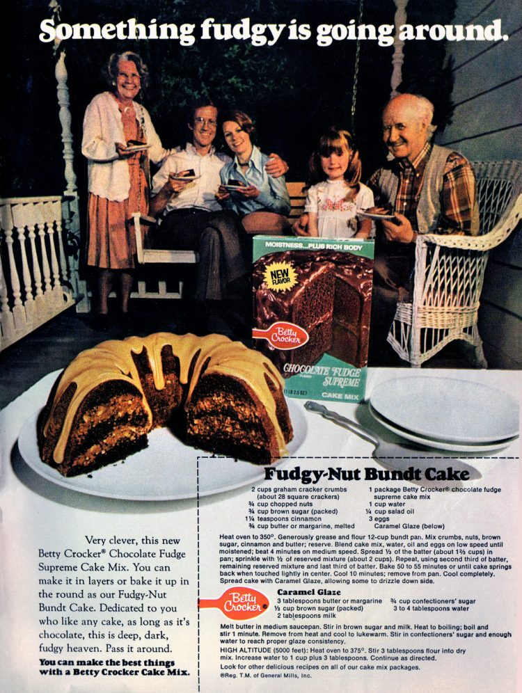 Fudgy-nut Bundt cake with caramel glaze recipe (1974)-001