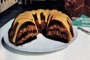 Fudgy-nut Bundt cake with caramel glaze recipe (1974)-003