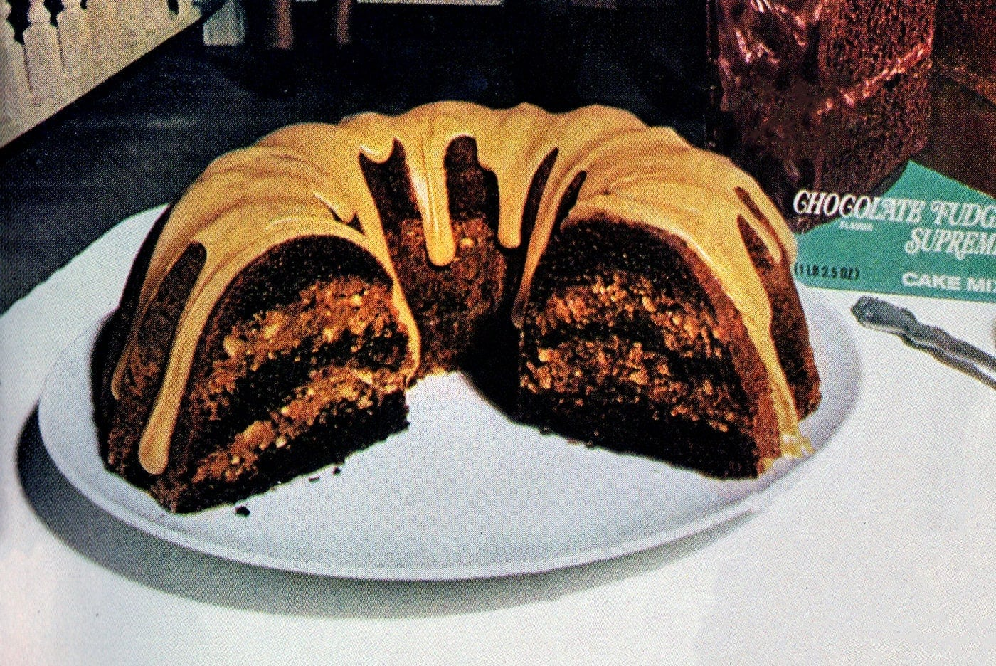 Fudgy-nut Bundt cake with caramel glaze recipe (1974)-003