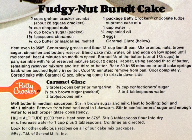 Fudgy-nut Bundt cake with caramel glaze recipe card