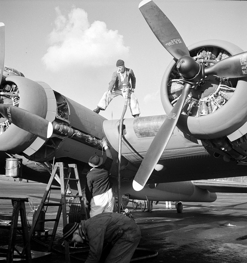 Fueling a new B-17F (Flying Fortress) bomber