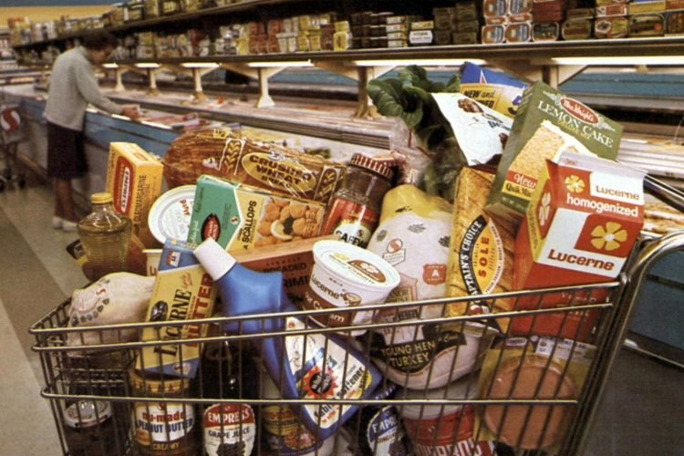 Full shopping cart at a vintage Safeway supermarket in 1968