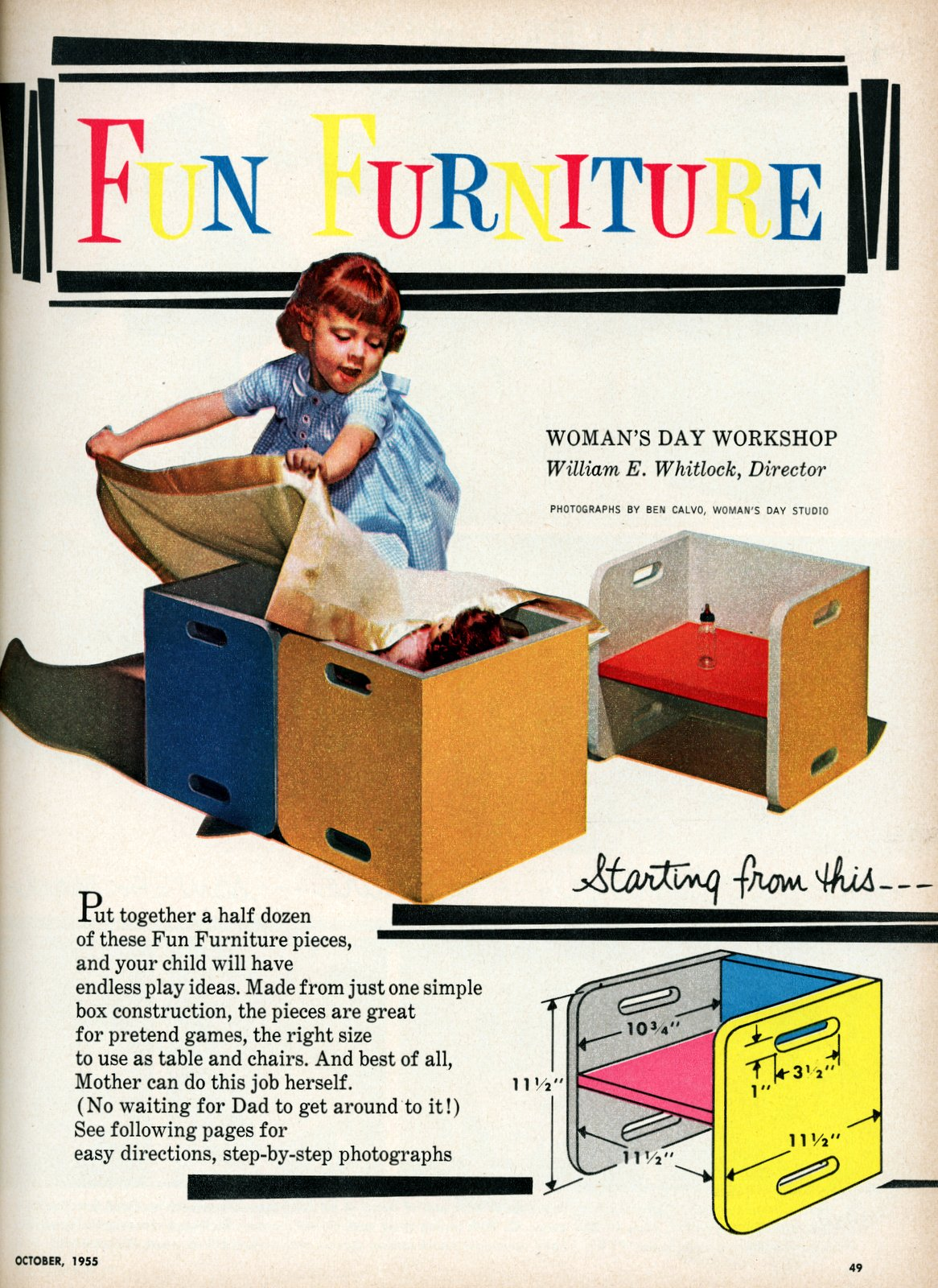 Fun DIY furniture for kids - Vintage ideas from 1955 (1)