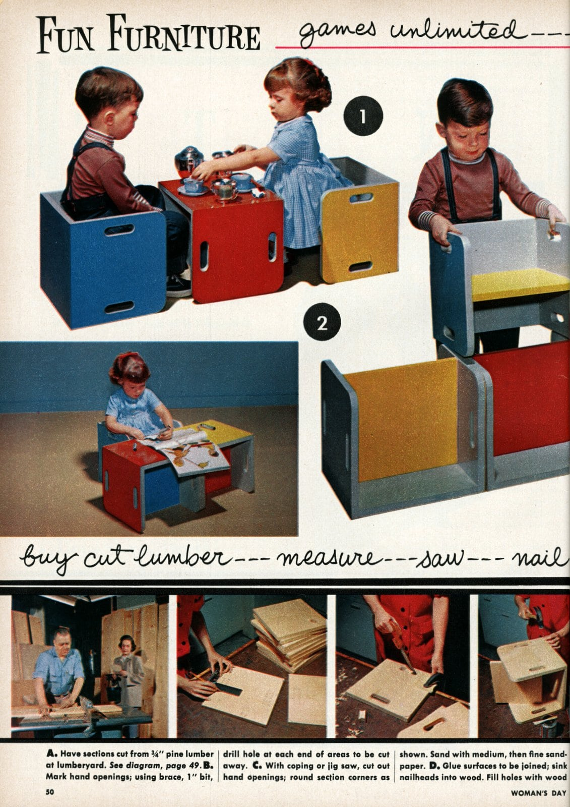 Fun DIY furniture for kids - Vintage ideas from 1955 (2)